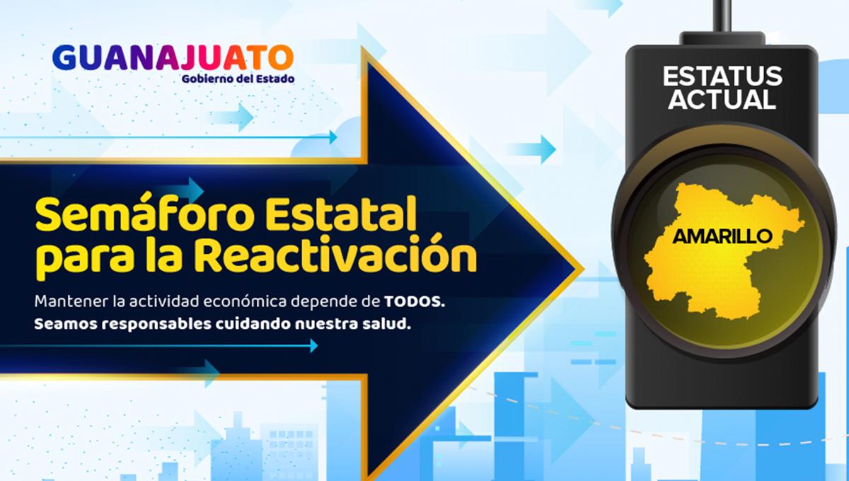 Semáforo Amarillo en Guanajuato, no bajes la guardia.